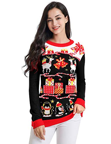 v28 Ugly Christmas Sweater for Women Vintage Funny Merry Tunic Knit Sweaters (Medium, Deer Penguin Black)