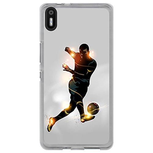 BJJ SHOP Funda Transparente para [ BQ Aquaris X5 ], Carcasa de Silicona Flexible TPU, diseño: Futbolista chutando la Pelota, luz de energia