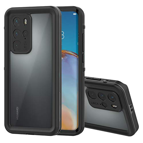 AMODA Compatible with Huawei P40 Pro Waterproof Case,Built-in Screen Protector IP68 Waterproof Shockproof Cover,TPU Silm Clear Case for Huawei P40 Pro-6.58inch(Black)