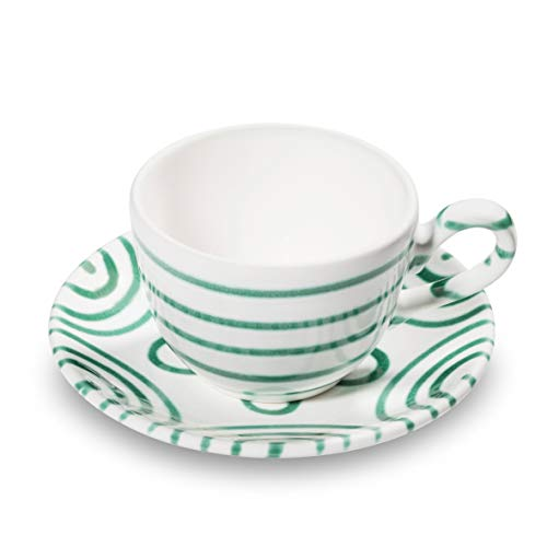 GMUNDNER KERAMIK Kaffeetasse mit Unterteller | Set, 2-teilig | Grüngeflammt | Geschirr, handgemacht in Österreich
