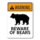 Bear Warning Sign, Beware of Bears Sign, Bear Lover Gift, Warning Bears Sign, Warning Sign Bear Funny Tin Sign 8x12 in Post Easy to Mount