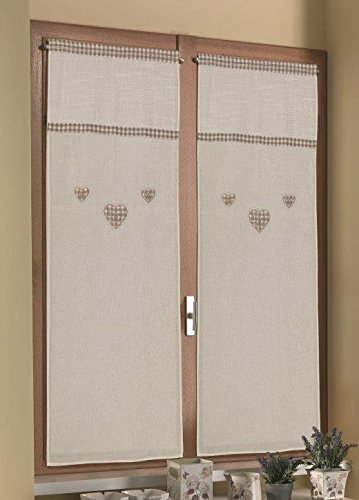 Home Collection TCCHE155/150 Tendina Coppia Cherie, Poliestere, Beige, 60x150 cm, 2 Unità