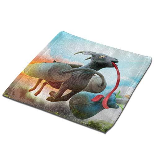 SJPillowcover Ziegen-Simulator, zwei quadratische Handtücher mit Namen bedruckte Handtücher, flauschig weiche Handtücher für Kinder und Erwachsene