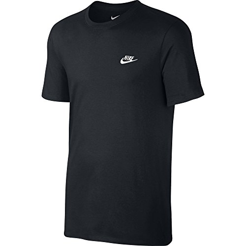 Nike Herren Club Embroidered Futura T-Shirt, Schwarz (Black / Black / White), L