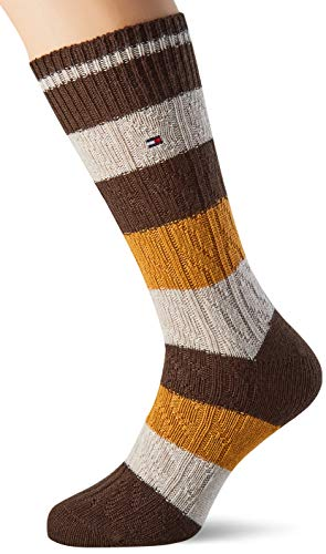 Tommy Hilfiger Mens TH 1P Cable Rugby Socks, Highland Khaki, 43/46