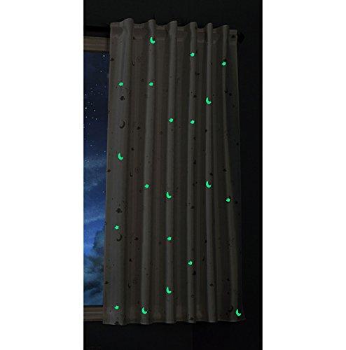 Gardinenbox Vorhang Schal Blickdicht Motiv Sterne Monde fluoreszierend Leuchtend Kinder Kids Schlaufenband Universalband Weiß 1 Stück 175x145 (Höhe x Breite cm), 20495
