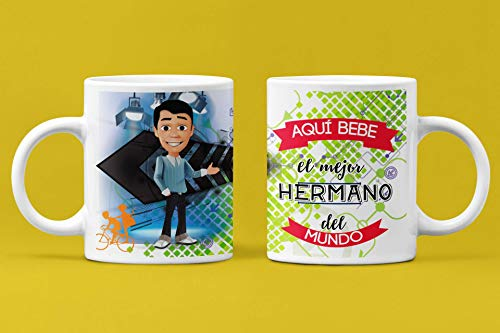 Taza de Desayuno Personalizadas y Divertidas para Los Hermanos. -Aquí Bebe El...