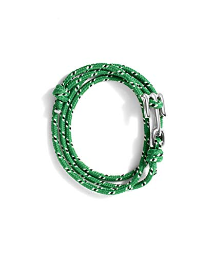 Wahou – Pulsera de Cabo con Cierre Metálico con M de Mahou – Color Verde