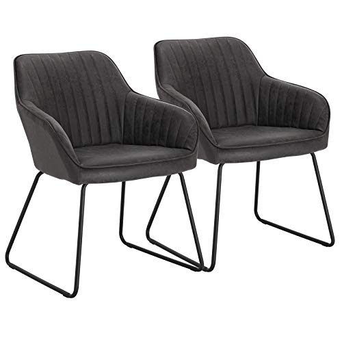 WOLTU Grey Kitchen Dining Chairs Set of 2 PCS Counter Lounge Living Room Corner Chairs Black Steel Legs Reception Chairs Tub Chairs Armchairs with Backrest & Armrests