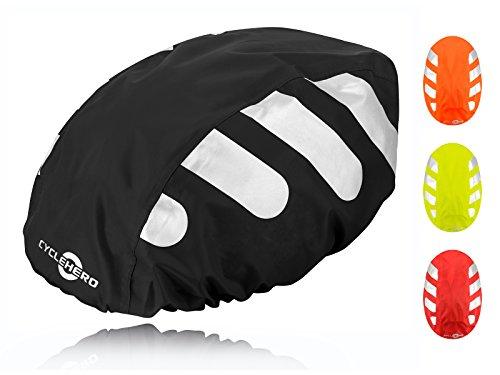 Wasserdichter Regenschutz für den Fahrradhelm (schwarzes Cover) Unisex Regenüberzug für den Helm mit Gummizug und Reflektor-Elementen – wasserfester Überzug für alle Helme (Herren, Damen, Kinder)