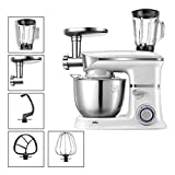 LEILEI Stand Mixer,1000W Food Processor Multifunctional Machin,6 Speed with Blender,Mixer,Grinder,Chopper,Citrus Juicer,Meat Grinder and 5L Stainless Steel Mixing Bowl for Home Kitchen