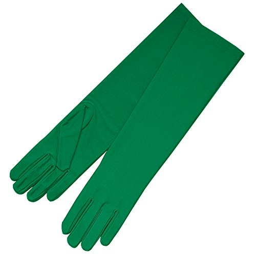 ZAZA BRIDAL 4-Way Stretch Matte Satin Dress Gloves Below-The-Elbow Length-Green