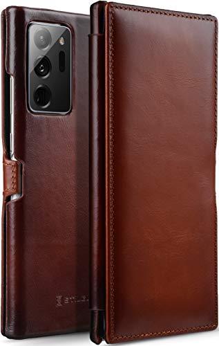 StilGut Book Hülle kompatibel mit Samsung Galaxy Note 20 Ultra Hülle aus Leder mit Clip-Verschluss, Lederhülle, Klapphülle, Handyhülle - Cognac Antik