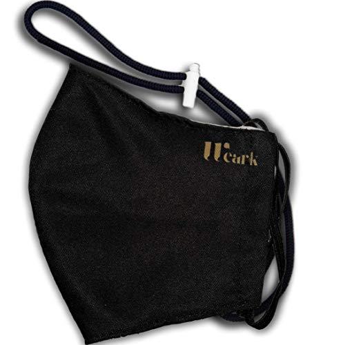 WEARK Mascarilla higienica reutilizable de microfibra fabricada en España con funda interior para filtro e innovador sistema de cierre (Adulto) Negra