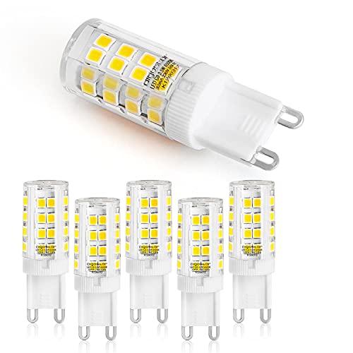 Aigostar - pack 5 Bombillas LED G9 de 3.5W, 6500K, 300lm, Equivalente 28W incandescente. Portalamparas ceramico. Sin Parpadeo, 360 Grados. Pequeñas para campanas extractoras, lámparas de mesa,