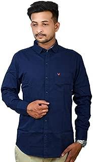 Darien Range Royal Blue Plain 100% Cotton Slim Fit Casual Shirt