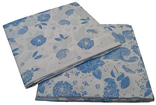 Caleffi - Juego de sábanas para cama individual y 1 plaza y media, algodón (1 plaza y media, Harmony, blanco/azul)