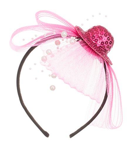 Brandsseller - Mini Damen Hut Paillettenhut Pink Haarreif Ansteckhut Kopfbedeckung - Karneval Fashing Kostüm Accessoire