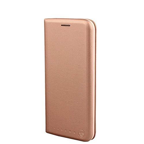 Nouske Lederklapphülle für Samsung Galaxy S7 Edge Hülle Tasche handgefertigt geschwungene Kanten mit Aufsteller und Kartenfach TPU Cover Schutzhülle Pink Gold