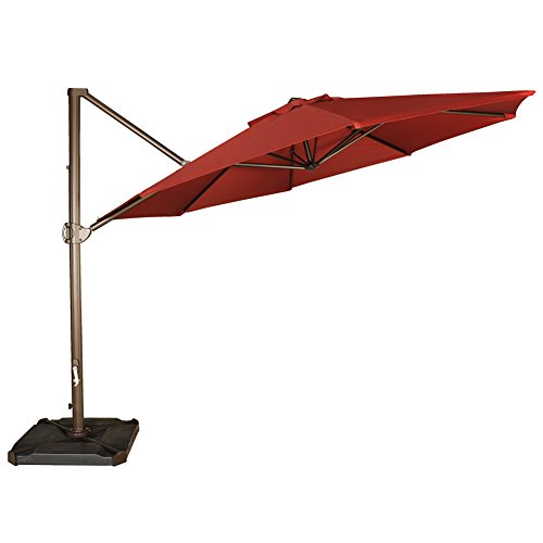 Abba Patio 11ft Patio Offset Hanging Umbrella Outdoor Cantilever Sturdy Umbrella with Crank & Cross Base & Easy Tilt, for Garden, Backyard, Pool and Deck, Red