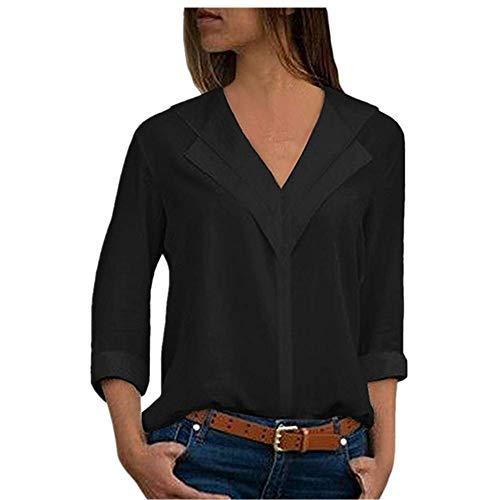 MORETIME Damen Shirt Langarm Baumwolle Chiffon Solide T-Shirt Büro Plain Kurzarm...