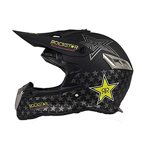 Woljay Off Road Helm Motocross-Helm für Moto-Cross Schmutz Fahrrad DOT-zertifiziert Rockstar Schwarz (M)