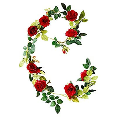 DuHouse 6Ft Silk Flower Garland Artificial Rose Vine Hanging Plants Wedding Arch Home Party Garden Craft Art Decor,Pack of 1(Red)