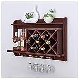 Productos para el hogar Estantes para vino Estante para vino Estante para vino montado en la pared con un soporte de vidrio de metal y estantes de almacenamiento multiusos.Estante minimalista chin
