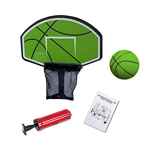 Exacme Trampoline Basketball Hoop with Ball and Attachment for Straight Net Poles, Green BH04GR