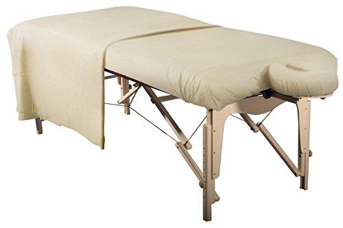 Massageliegenbezug/Spannbezug Set 3 teilig Laken für Massageliege/Massagebank und Kopfstütze aus Baumwolle waschbar bequem beige/natur