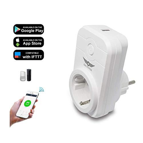 Enchufe Inteligente Wifi,USB K&I POWER Inalámbrico Smart Mini Monitor de Energía del Zócalo del Interruptor Compatible con Alexa Echo/IFTTT Google Asistente,no se requiere Hub,con Control Remoto