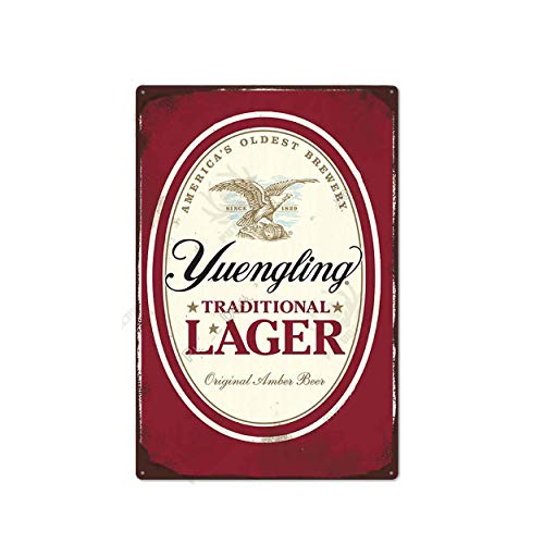 """Beer TIN Sign Yuengling Traditional Lager - Metal Plaque, Retro Decor for Bar, Cafe, Pub, Size 8""""x12"""" Tin Sign Man Cave Game Room Light Beer"""
