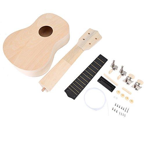 VGEBY1 Kit de ukelele, guitarra hawaiana de Lindenwood cuerpo puente de cuello diapasón ukelele manualidades