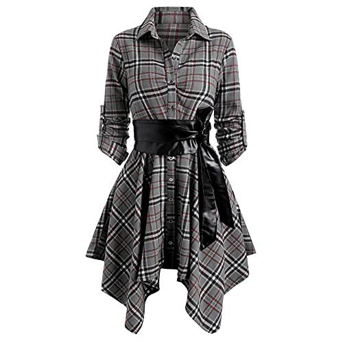 yiouyisheng Vestido de camisa para mujer, con solapa, a cuadros, de manga larga, con...