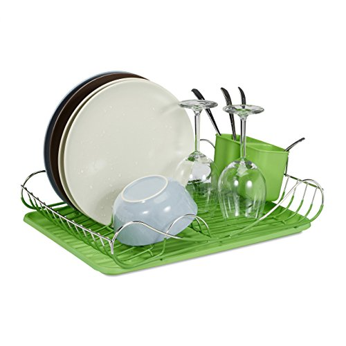 Relaxdays Egouttoir à vaisselle avec porte-couverts inox bac en plastique vert HxlxP: 12,5 x 43 x 33 cm, vert
