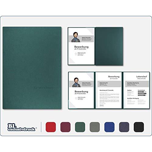 5 Stück 3-teilige Bewerbungsmappen BL-exclusivdruck® OPTIMA-plus in Tannengrün - Premium-Qualität mit edler Relief-Prägung 'Bewerbung' - Produkt-Design von 'Mario Lemani'