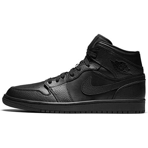Nike Herren AIR Jordan 1 MID Basketballschuh, Schwarz, 52.5 EU
