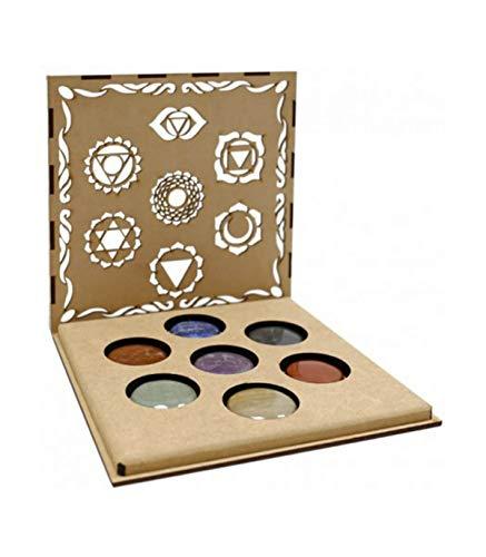 Lamare Set Minerales 7 CHAKRAS en caja madera (Simbolos Chakra)