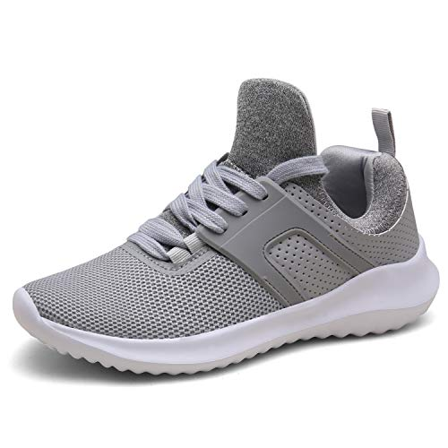 DENGBOSN Turnschuhe Laufschuhe Leichte Sportschuhe Schnürer Fitness Sneaker für Herren Damen XZ666-lightgrey1-EU38