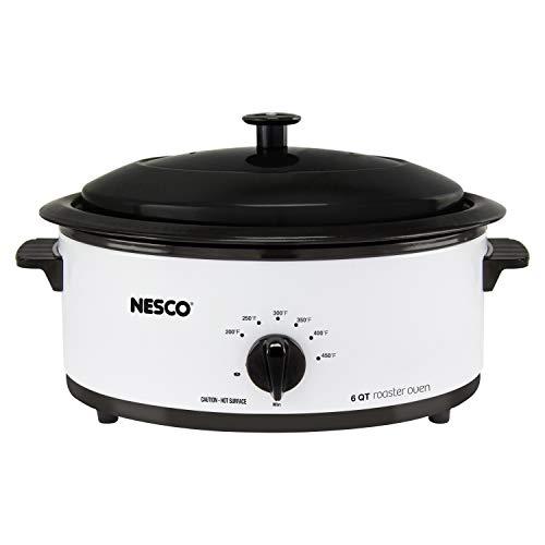 Nesco 4816-14 Porcelain Roaster Oven, 6 quart, White