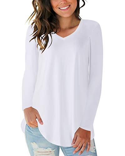 CNFIO shirt dames lange mouwen shirt blouse V-hals casual top sexy top elegant shirt met lange mouwen