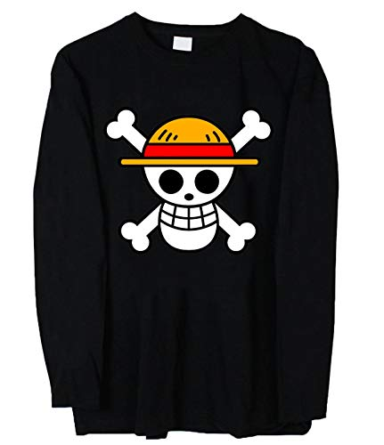 HuaXuKeJi One Piece Anime Long Sleeves T-Shirt for Mens M Black