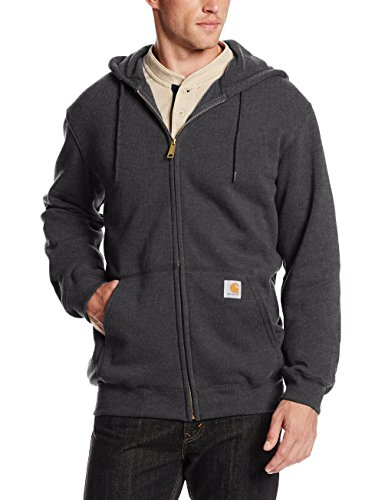 Carhartt Herren Midweight Hooded Zip-Front Sweatshirt, Anthrazit meliert, Medium