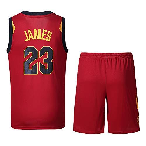 Wsaman Basketball-Uniformen Unisex, Atmungsaktives und Erkennenißfestes Fan-T-Shirt 23# Jerseys Breath Gestickte MeshBreathable und Bequemes,Rot,XL