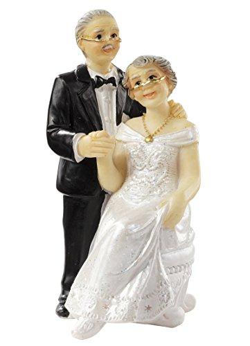 Personaggi decorativi per torta nuziale, colore: argento, utilizzabile anche come decorazione da tavolo, per nozze d'argento