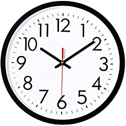 Lumuasky Black Wall Clock, Silent Non-Ticking Quartz Battery Operated Round Easy to Read Decorative for Home Office School (10Inch Red Second)