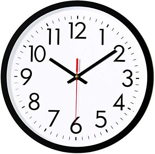 Foxtop Leise Wanduhr, tickt Nicht, Quarz, Schwarze Wanduhren, dekorative Wanduhr für Zuhause, Büro, Schule (25 cm, schwarz)