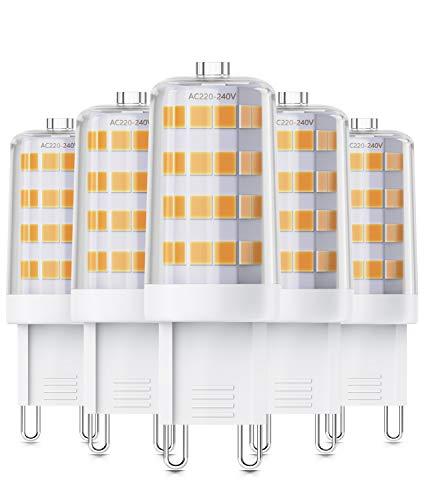 QNINE G9 LED 40W Glühbirne ersetzen, 4W Birne 5 Stück, Warmweiss(2700K), Kein Flackern, 400 Lumen, Nicht Dimmbar, LED Leuchtmittel GU9, 220V-240V AC, 360° Abstrahlwinkel, 17x49mm