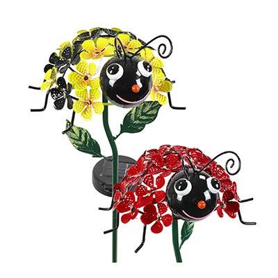 4S 05708 LED Solar Garden Stake Light, Bumble Bee & Ladybug, Acrylic & Metal - Quantity 4