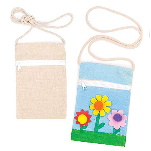 Baker Ross EC1296 Ross Kleine Schultertaschen aus Stoff - Baumwolle - für Kinder zum Bemalen - Stoffbeutel als Geschenkidee - 5 Stück